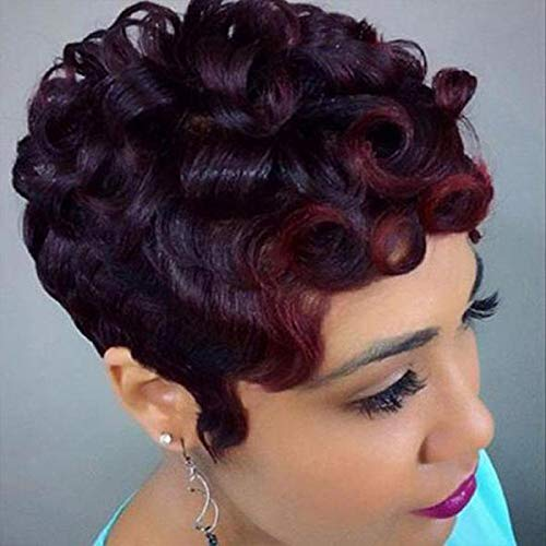 GNIMEGIL Women Short Afro Curly Wig Heat Resistant Synthetic Hair Replacement Wigs Fluffy Curls Dark Red Daily Party Wear