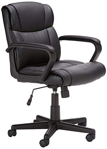 Leather Mid Back Chair - AmazonBasics Classic Leather-Padded Mid-Back Office Chair with Armrest - Black (Renewed)