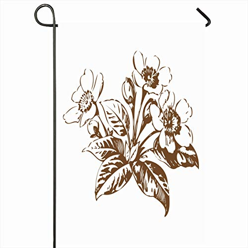 (Ahawoso Outdoor Garden Flag 12x18 Inches Bud Exotic Cherry Branches Flowers Sakura Floral Blossom Flower Nature Asia Black Bloom Blooming Home Decor Seasonal Double Sides House Yard Sign Banner)