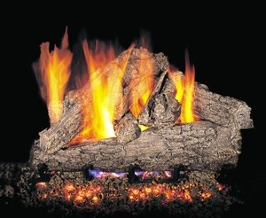 ''R.H. Peterson RRSOG4-2-24 - 24'''' Rugged Split Oak Vented Gas Logs with Burner for Natural Gas Fireplaces.''