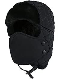 Outdoor Winter Trooper Trapper Hat Hunting Cap Ushanka Russian Ear Flap Chin Strap with Windproof Mask Unisex