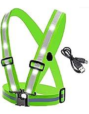 Rvtkak LED reflecterend veiligheidsvest, reflecterend loopvest, hardloopverlichting voor hardlopers, verstelbaar USB oplaadbaar vest waarschuwing vest, voor outdoor sport nachtlopen fietsen