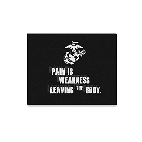 Halloween Decor USMC United States Marine Corps Pain Is Weakness Leaving The Body Oil Painting Canvas Print Wall Art for Home Decoration(20x16inch) -