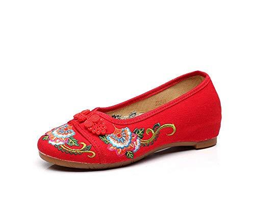 Nell'aumento Stoffa Ricamate Comodo Scarpe A Rosso Moda colore 38 Casual Tendine Etnico Suola Femminile Stile Fuxitoggo Dimensione Di O48qwxF4P