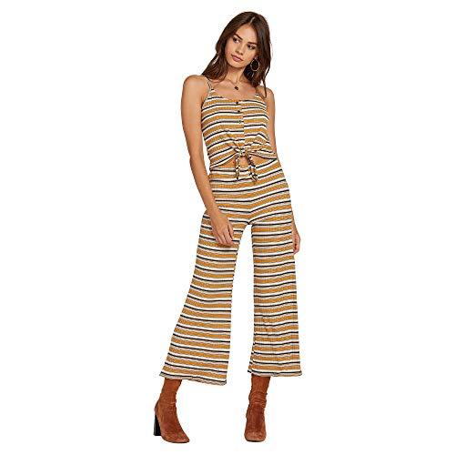 (Volcom Junior's Women's Stone Stripe High Waisted Flared Leg Pant, Dijon, Extra)