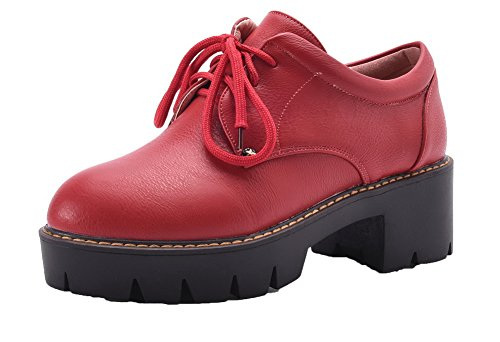 VogueZone009 Women's Lace-up Round Closed Toe Pumps-Shoes Red yiMl8nW