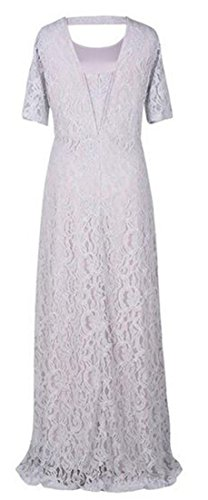 Vintage Gray Crewneck Womens Solid Half Ballgown Maxi Dress Swing Cruiize Sleeve Lace gS5HwHq