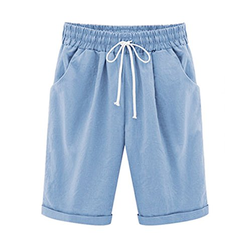 (ONLY TOP Women's Casual Shorts with Elastic Waist Drawstring Blue)