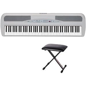 Korg 88-Key Digital Piano SP280 (White) Bundle with Stageline KB40 Piano Bench