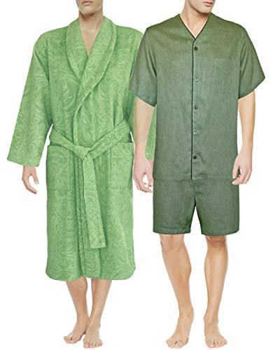 751bdfe16a Armani International Cool Confidence Robe Slippers + Linen Pajama Large  Sage Green