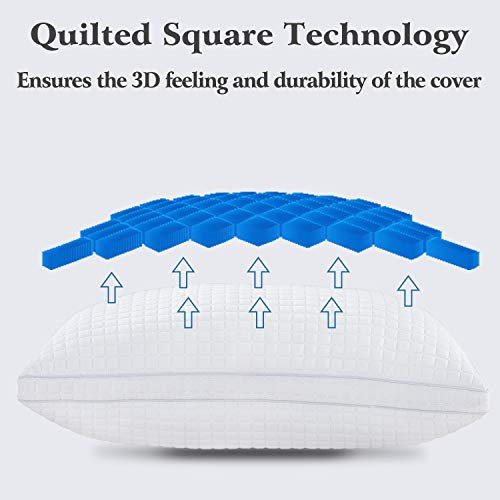 JOLLYVOGUE Bed Pillows for Sleeping 2 Pack-Down Alternative Sleeping Bed Pillow with Plush Fiber Fill, Adjustable Hotel Pillow Soft Pillow for Back, Stomach, Side Sleepers-Queen Size 20 x 30