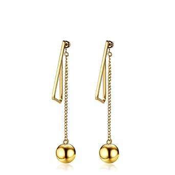 Anazoz Women Jewelry Stainless Steel Ball Triangle Gold Drop Dangle Earrings