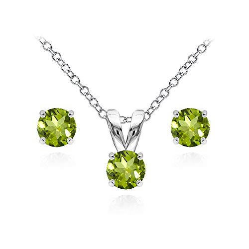 - Sterling Silver Peridot 5mm Round Solitaire Pendant Necklace and Stud Earrings Set for Women