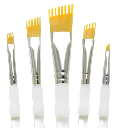 Aqualon Royal and Langnickel Wisp Short Handle Paint Brush Set, Angular, 5-Piece