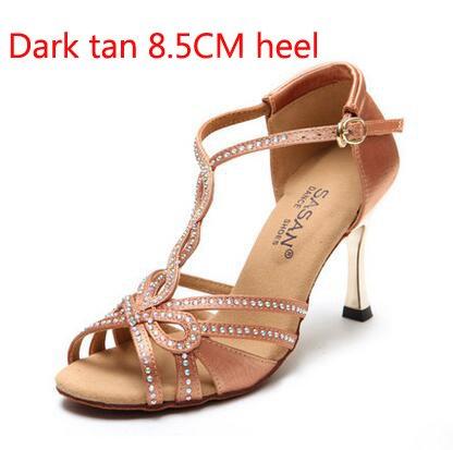 YFF T-font Strasssteinen Satin-Fabric Frauen Latin Dance Shoe 5,5cm 8,5cm Ferse Latin Tango Salsa Tango Schuh Mädchen Sansals,dunkle Bräune 85 mm Absatz,5.