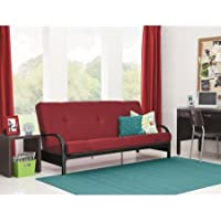 Mainstays Black Metal Arm Futon with 6 Mattress, Red