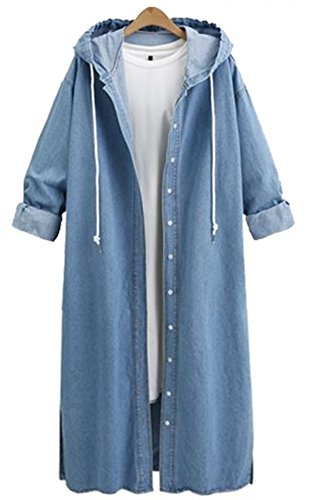 QZUnique Women's Long Denim Coat with Hood Long Sleeve Windbreaker Plus Size Jean Jacket Outwear Blue US L Womens Ladies Jean Denim Coat