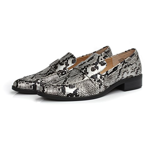 Chain Brandon Casual Decorated amp;white Heels DUNION Shoe Almond Penny Low Black Loafers Women's Daily Toe EBqTWgTHf