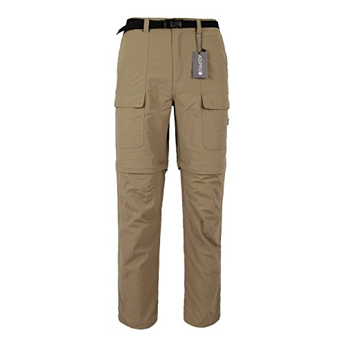 Quick Dry Pants, ADiPROD Men's Water Repellent Lightweight Convertible Cargo Shorts Hiking Pants (L, Khaki)