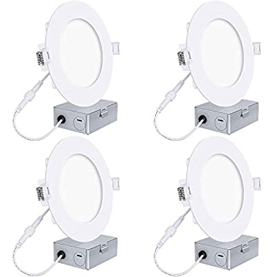 Hykolity 6 Inch LED Slim Recessed Ceiling Light,12W 960lm CRI90, 5000K Neutral White, Low Profile Downlight with Juction Box Dimmable 4 Pack