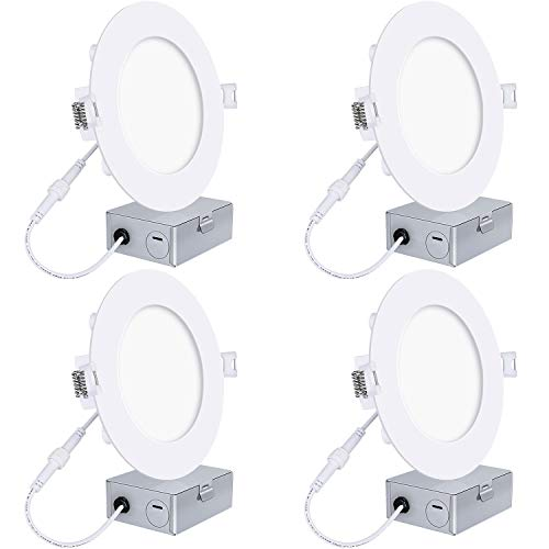 (Hykolity 12W 6 Inch LED Slim Recessed Ceiling Light, 960lm, CRI90, 4000K Neutral White, Low Profile Downlight with Junction Box Dimmable, ETL& Energy Star Listed,Title 24 Compliant- 4 Pack)