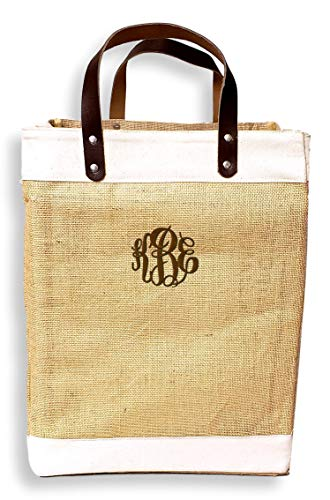 (Eco-Friendly Large Jute and Cotton Leather Handle Market Tote Bag (Custom Embroidered Monogram- Natural) )