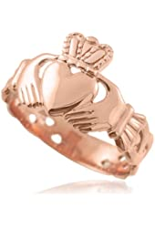 Bold 10k Rose Gold Trinity Knot Band Irish Claddagh Ring for Men