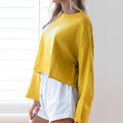 T jaune Femme dcontract Long Tops Chemisier Femme pour TAOtTAO Corps Shirt 5Unvg7qwxZ