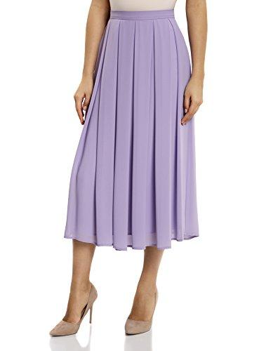 oodji Collection Femme Jupe Mi-Longue Fluide  Plis Doux Violet (8000n)