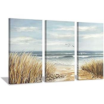 Abstract Beach Canvas Wall Art: Seashore Grasses Artwork Print Seascape Painting for Walls (26'' x 16'' x 3 Panels)