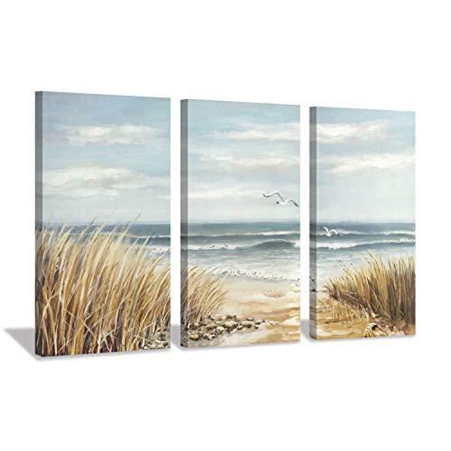 - Hardy Gallery Seascape Abstract Artwork Shore Picture: Coastal Beach Gold Foil Art Print on Canvas for Wall