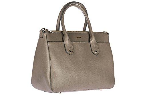 Furla Leder Handtasche Damen Tasche Bag Grau