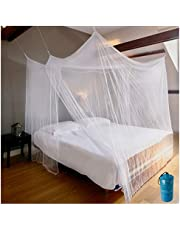 Luxury Mosquito Net for Bed Canopy, Extra Large Tent for Double to King Size, Square Curtains, Mosquito Netting 2 Entries, Easy to Install, Hanging Kit, Storage Bag, No Chemicals Added