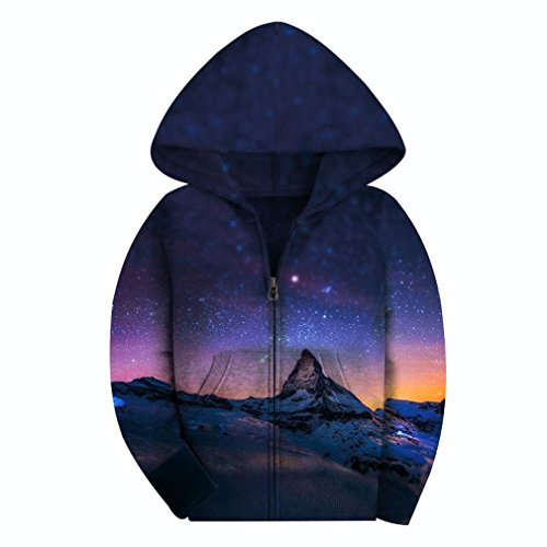 SAYM Big Girls' Youth Galaxy Teen Fleece Full Zip Jackets Pullover Hoodies NO10 M by SAYM
