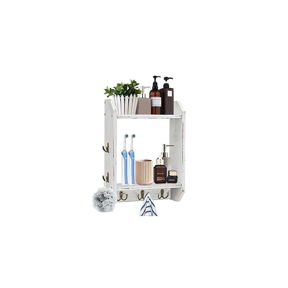 Bathroom Towel Rack for Wall Mount, 2-Tier Towel Rack Ladder for Bathroom, Wood Hanging Bathroom Towel Holder with Towel…