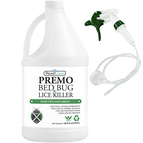 Premo Guard Bed Bug, LICE & MITE Killer Spray - 128 oz - Natural Non Toxic - Child & Pet Friendly - Fast Acting - Laundry Additive - Best Protection - Industry Approved - Satisfaction Guarantee