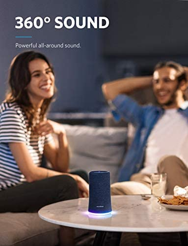 Bluetooth Speaker, Soundcore Flare Wireless Speaker by Anker, Portable Party Speaker with 360 Sound, Enhanced Bass, Ambient LED Light, IP67 Dustproof Waterproof, and 12H Battery Life Blue