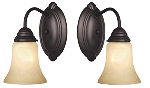 One-Light Interior Wall Fixture, Oil Rubbed Bronze Finish with Aged Alabaster Glass 2-Pack
