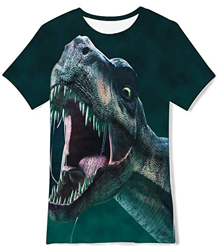 Enlifety Kids Girls Boys Dark Green Cartoon Dinosaur Graphic T-Shirts Cool Crewneck Polo Shirts Sportwear Outfit Tank Tops Size 6-8