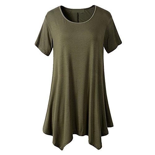 Tops and Blouses for Women,Chaofanjiancai Ladies Short Sleeve O-Neck Tunic Shirts Irregular Hem Loose Casual Tee T-Shirt Tops Green
