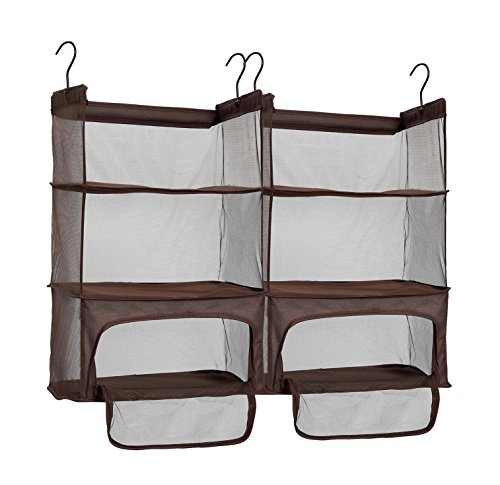 (STORAGE MANIAC 2-Pack Luggage Suitcase Organizer, Portable Hanging Closet Shelves Organizer with Zipper)