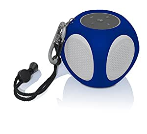 BiJELA Portable Outdoor Water Resistant Bluetooth Speaker with Built-In Mic - Retail Packaging - White/Blue