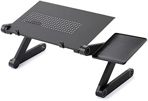 Portable Folding Picnic Desk Laptop Table Stand Computer Notebook Tray 4 Wheels
