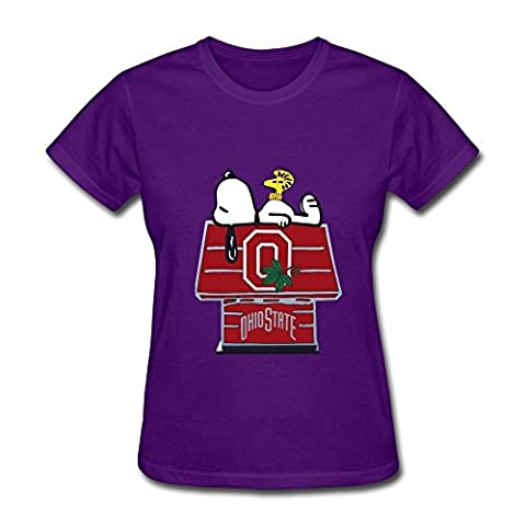 HUBA Women's T Shirts Ohio State Buckeyes-snoopy Purple Size XL (Roku Purple)