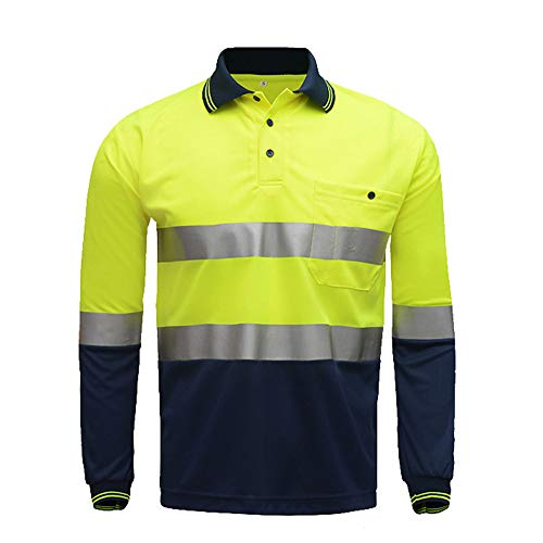 High Visibility Long Sleeve Shirt,Two Tone Yellow Navy Safety Polo Shirt with Reflective Stripes Hi Vis Construction Workwear (L, Yellow&Navy) (Hi Vis Polo Shirts With Reflective Tape)