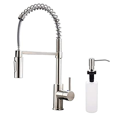 APPASO Commercial Pull Down Sprayer Kitchen Faucet with Soap Dispenser - Stainless Steel Brushed Nickel High Arc Tall Modern Single Handle Spring Kitchen Sink Faucet with Pull Out Spray Head, K163-BN