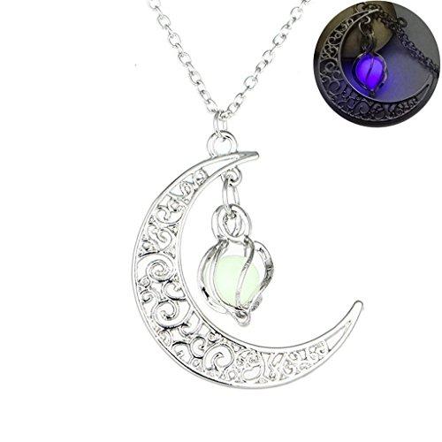 [MJARTORIA Filigree Glim Cage Crescent Moon Ball Cabochon Glow in the Dark Necklace (Purple)] (Crescent Moon Pendant Necklace)