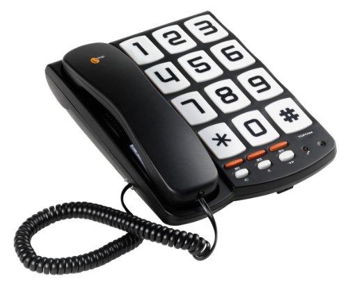 Topcom Sologic T101 Schnurgebundenes Großtastentelefon mit 3 Direktwahltasten (Hörgerätekompatibel)