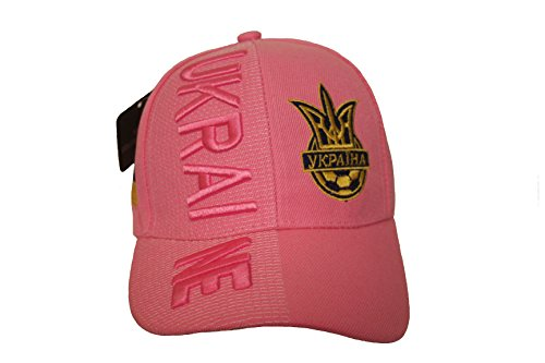(Ukraine Pink With Trident FIFA Soccer World Cup Embossed Hat Cap .. For LADIES .. New)