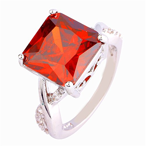 Veunora 925 Sterling Silver Created Garnet Filled Infinity Ring for Women